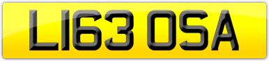 Plate image for registration plate L163OSA