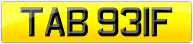 Plate image for registration plate TAB931F