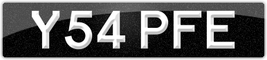 Plate image for registration plate Y54PFE