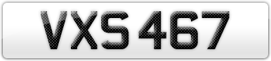 Plate image for registration plate VXS467