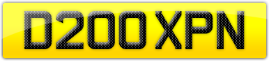 Plate image for registration plate D200XPN