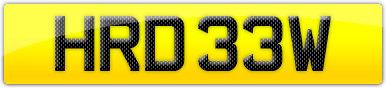 Plate image for registration plate HRD33W