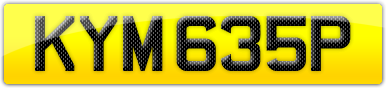 Plate image for registration plate KYM635P
