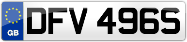 Plate image for registration plate DFV496S