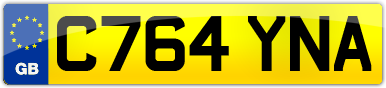 Plate image for registration plate C764YNA