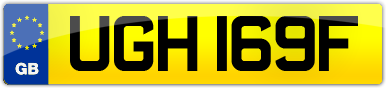 Plate image for registration plate UGH169F