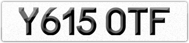 Plate image for registration plate Y615OTF