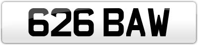 Plate image for registration plate 626BAW