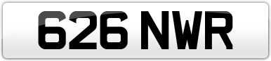 Plate image for registration plate 626NWR