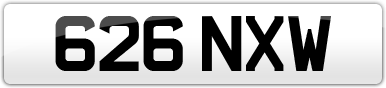 Plate image for registration plate 626NXW