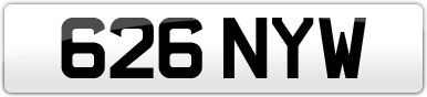 Plate image for registration plate 626NYW