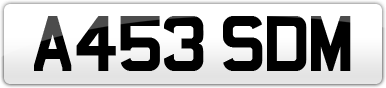 Plate image for registration plate A453SDM