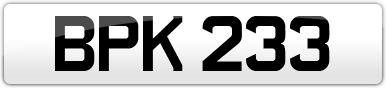 Plate image for registration plate BPK233
