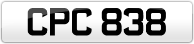 Plate image for registration plate CPC838