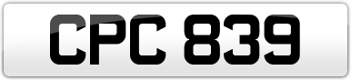 Plate image for registration plate CPC839