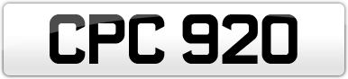 Plate image for registration plate CPC920