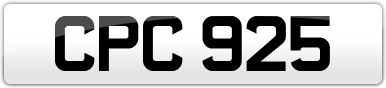 Plate image for registration plate CPC925