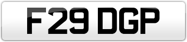 Plate image for registration plate F29DGP