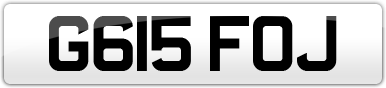 Plate image for registration plate G615FOJ