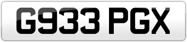 Plate image for registration plate G933PGX