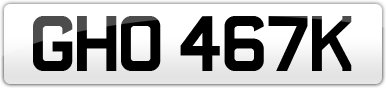 Plate image for registration plate GHO467K