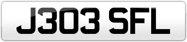 Plate image for registration plate J303SFL