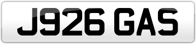 Plate image for registration plate J926GAS