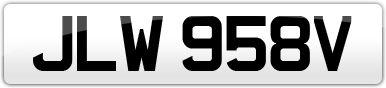 Plate image for registration plate JLW958V