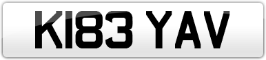 Plate image for registration plate K183YAV