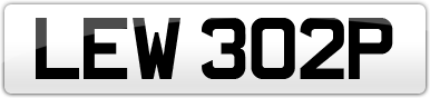 Plate image for registration plate LEW302P