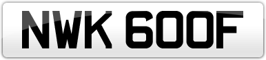 Plate image for registration plate NWK600F