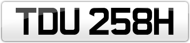 Plate image for registration plate TDU258H