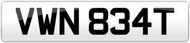 Plate image for registration plate VWN834T