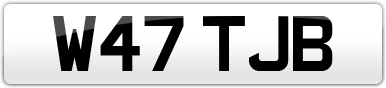 Plate image for registration plate W47TJB