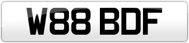 Plate image for registration plate W88BDF