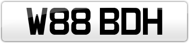 Plate image for registration plate W88BDH