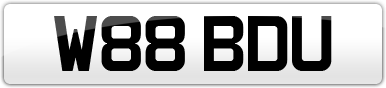 Plate image for registration plate W88BDU