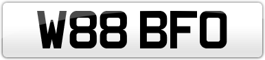 Plate image for registration plate W88BFO