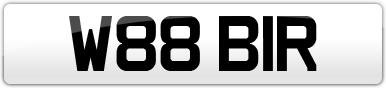 Plate image for registration plate W88BIR