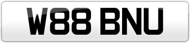 Plate image for registration plate W88BNU