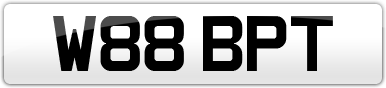 Plate image for registration plate W88BPT