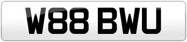 Plate image for registration plate W88BWU