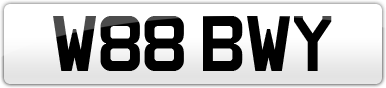 Plate image for registration plate W88BWY