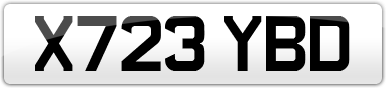 Plate image for registration plate X723YBD