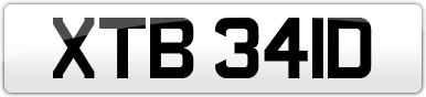 Plate image for registration plate XTB341D
