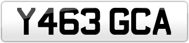 Plate image for registration plate Y463GCA