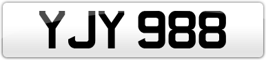 Plate image for registration plate YJY988