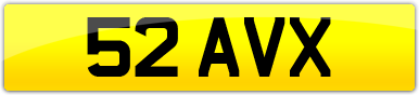 Plate image for registration plate 52AVX