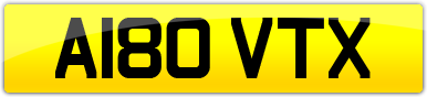 Plate image for registration plate A180VTX