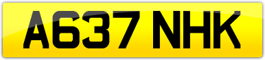 Plate image for registration plate A637NHK